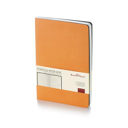 Ежедневник датированный Megapolis Flex А5, оранжевый, бежевый блок, без обреза фото