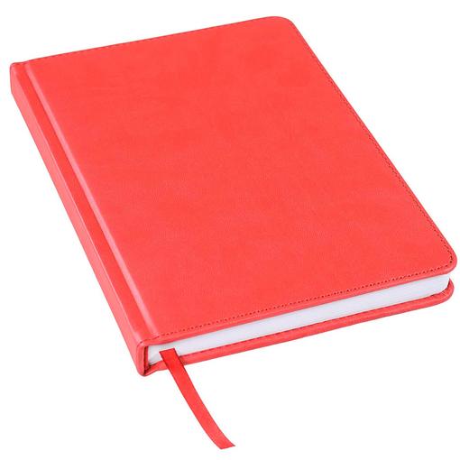 Ежедневник недатированный Bliss А5, красный, белый блок, без обреза фото