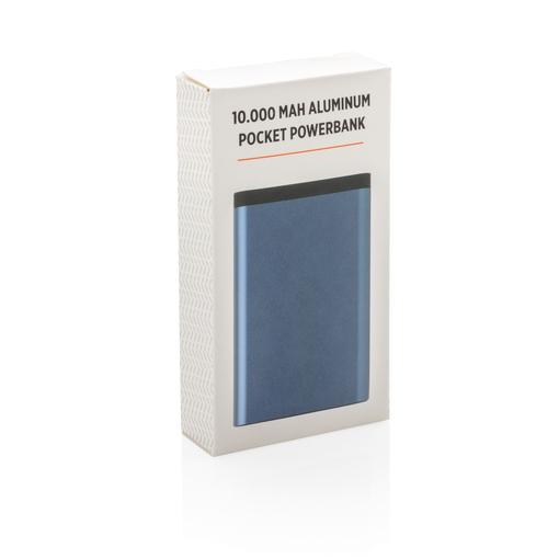 Карманный внешний аккумулятор в алюминиевом корпусе, 10 000 мАч, синий фото