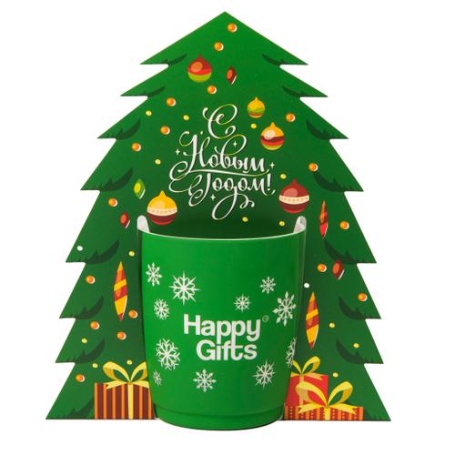 Коробка-украшение для чашки в виде елки 15*23 см, зеленый фото