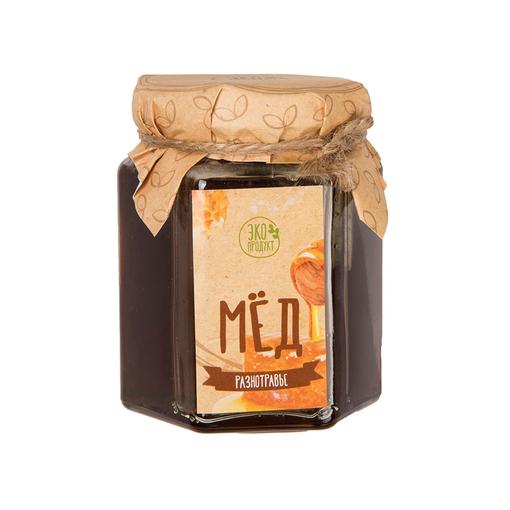 Мед разнотравье в стеляной банке 250 грамм, прозрачный фото