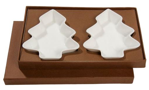 Набор: 2 тарелки для закусок Елочка, белый фото