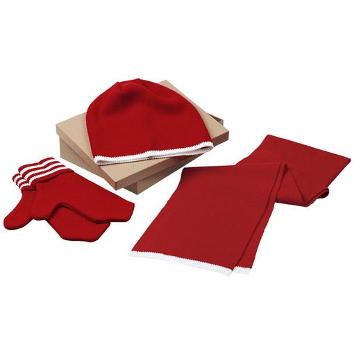 Набор Best: шапка, шарф и варежки, красно-белый фото