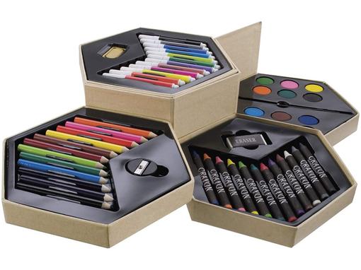 Набор для рисования 52 предметов в деревянной коробке, светло-бежевый фото