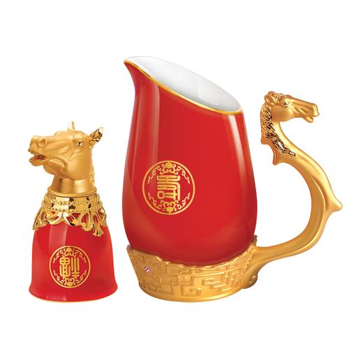 Набор для водки Кони, золотой, красный фото