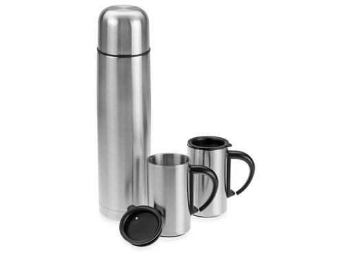 Набор Коретто: термос и 2 термокружки, серебряный/серый фото