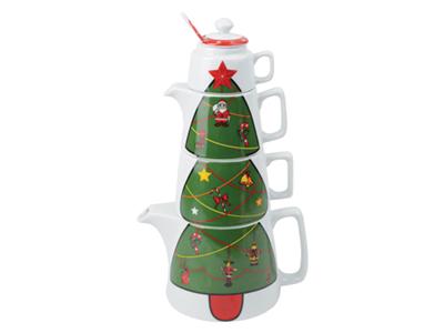 Набор Новогоднее чаепитие: чайник на 800 мл, чашка на 300 мл, сахарница, сливочник, ложка фото