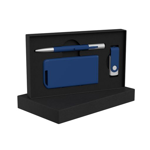 """Набор Chili: Ручка шариковая """"Clas"""", флеш-карта """"Vostok"""" 16 Гб и зарядное устройство """"Theta"""" 4000 mAh, покрытие soft touch, синий фото"""