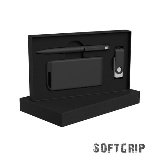 Набор ручка + флеш-карта 8Гб + зарядное устройство 4000 mAh в футляре, softgrip фото