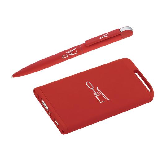 """Набор ручка """"Jupiter"""" + зарядное устройство """"Theta"""" 4000 mAh, покрытие soft touch фото"""