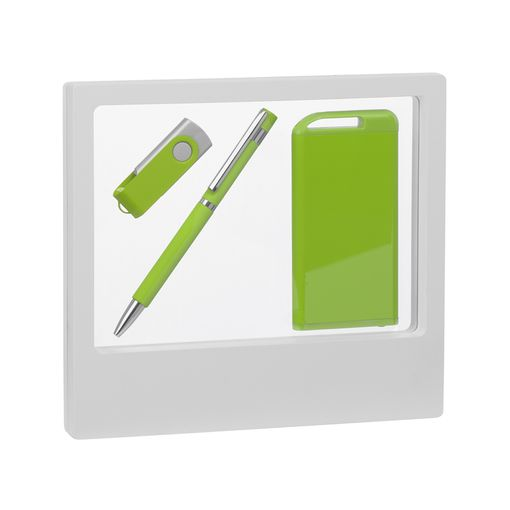 "Набор Chili: Ручка шариковая ""Mars"", флеш-карта ""Vostok"" 16 Гб и зарядное устройство ""Theta"" 4000 mAh, покрытие soft touch, лайм фото"