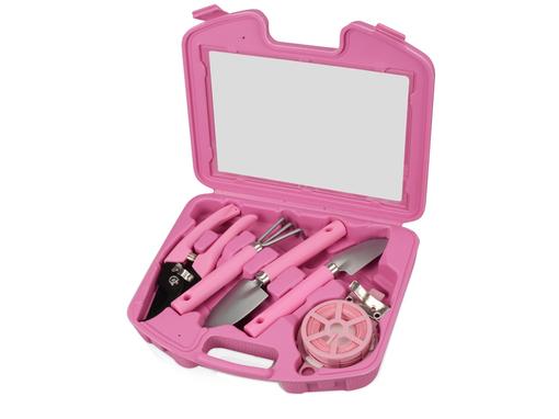 Подарочный набор садовых инструментов Роза, матовый металл, серый, розовый фото
