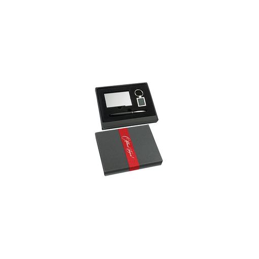 Набор: визитница, брелок и шариковая ручка, черный/ серый фото