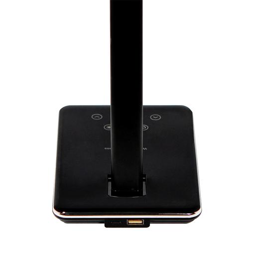 Настольная лампа Portobello Lumos с беспроводной зарядкой, 120х180х410 мм, 450 г, черный, подарочная упаковка фото