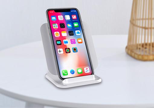 Настольная подставка для смартфона с беспроводным зарядным устройством, белая фото