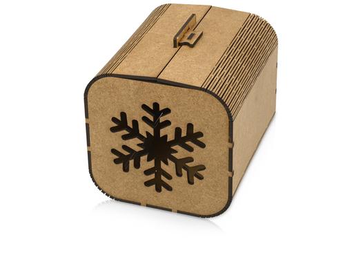 Подарочная коробка Снежинка, коричневый фото