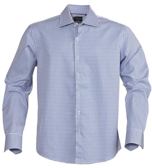Рубашка мужская в клетку TRIBECA, синяя фото
