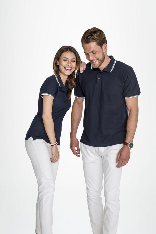Рубашка поло мужская с контрастной отделкой PRACTICE 270, темно-синий/белый фото
