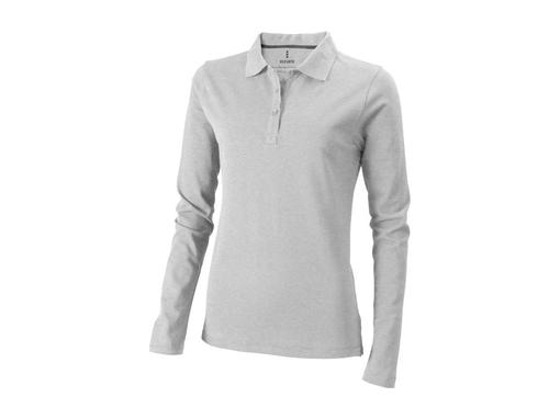 Рубашка-поло с длинным рукавом Oakville женская, серый меланж фото