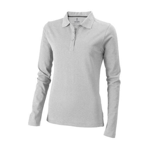 """Рубашка-поло с длинным рукавом """"Oakville"""" женская, серый меланж фото"""