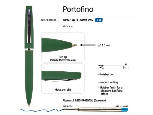 Ручка металлическая шариковая Portofino, зеленая фото