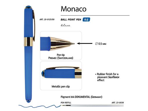 Ручка пластиковая шариковая Monaco, насыщенно-синяя фото