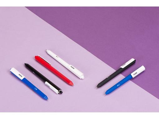 Ручка пластиковая шариковая Pigra, софт-тач, красная фото