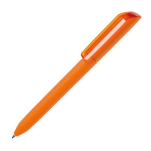 Ручка шариковая FLOW PURE, покрытие soft touch, пластик, оранжевый корпус/прозрачный клип фото
