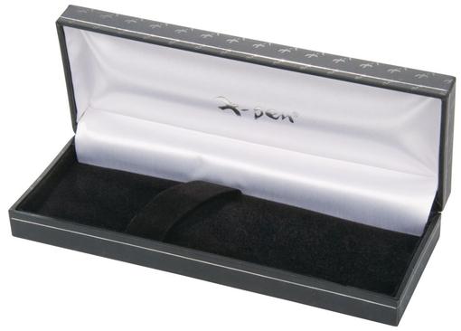 Ручка шариковая Podium с футляром, черная с серебристыми элементами фото