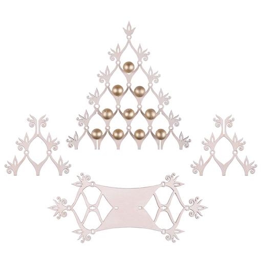 Сборная елка Новогодний ажур, с золотистыми шариками фото