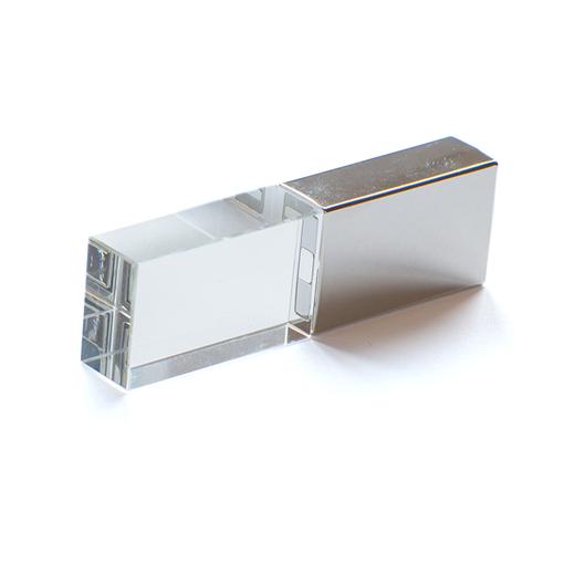 Флешка Кристалл, металлическая со стеклянной вставкой, серебристая, 4Гб фото