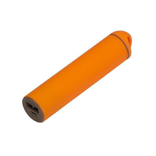 Внешний аккумулятор, Travel PB, 2000 mAh, пластик, покрытие-soft touch, 92х23х23 мм, оранжевый/коричневый, подарочная упаковка с блистером фото