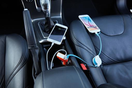 Зарядное устройство для автомобиля 3 в 1, оранжевый/ серый фото