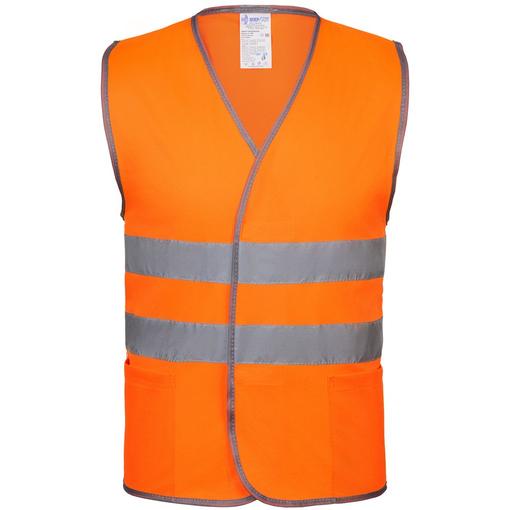 Жилет светоотражающий, оранжевый неон фото