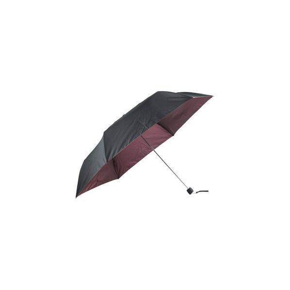Зонт складной двухсторонний механический, черный / бордовый