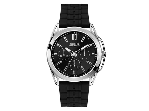 Часы наручные Guess, мужские, d44, черный/серебряный
