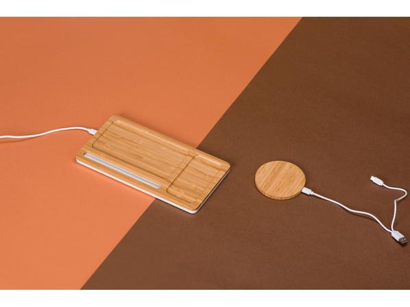 Зарядное устройство беспроводное органайзер Timber, бамбуковый