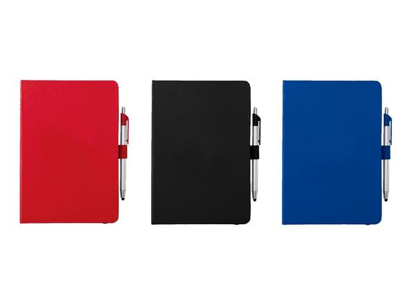 Блокнот A5 Crown с шариковой ручкой-стилусом, синий