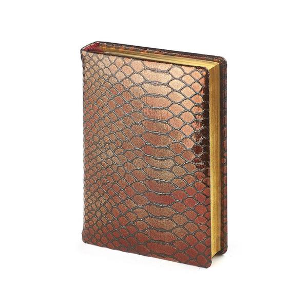 Ежедневник полудатированный Strada А6+, бронзовый, бежевый блок, золотой обрез, два ляссе