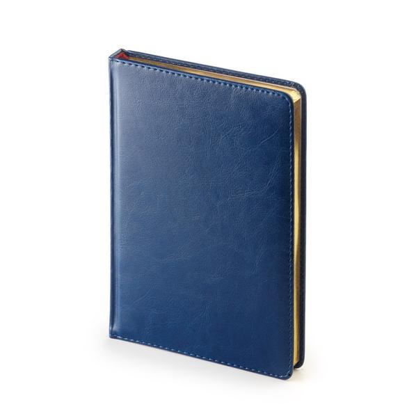 Ежедневник недатированный Sidney Nebraska А4, синий, белый блок, золотой обрез, ляссе
