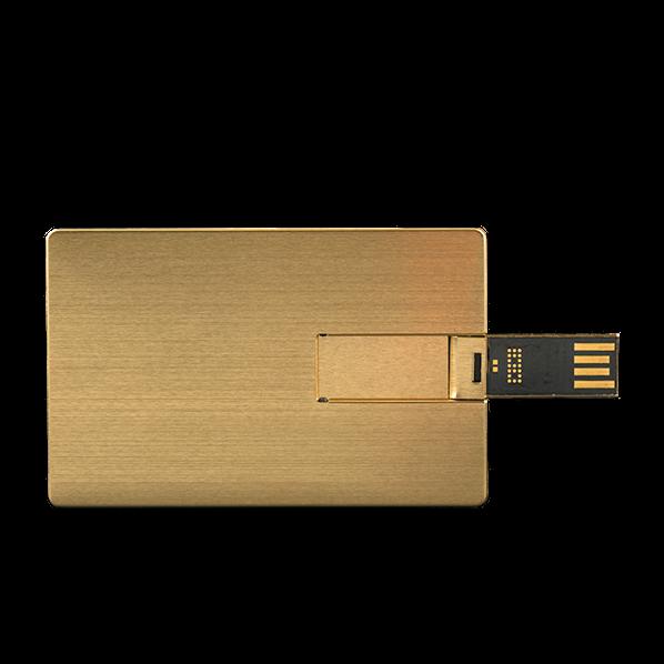 Флешка карточка Визитка металлическая, золотая, 4Гб