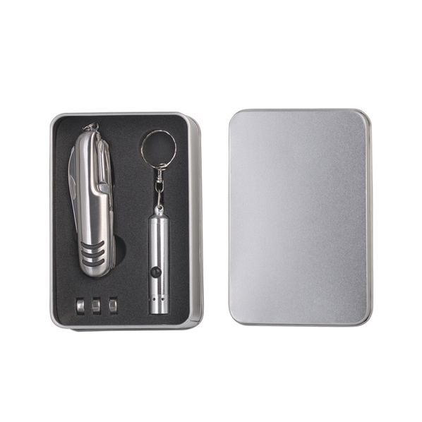 Набор: многофункциональный нож 11 в 1 и фонарик-брелок, серый