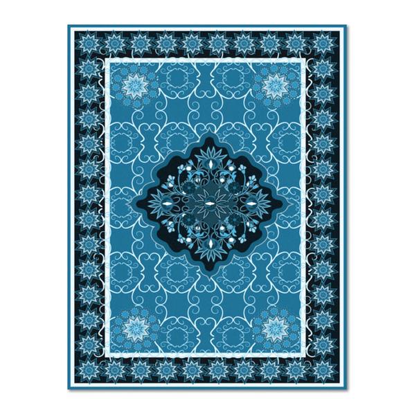 Плед флисовый для пикника с защитной непромокаемой прослойкой, синий/белый
