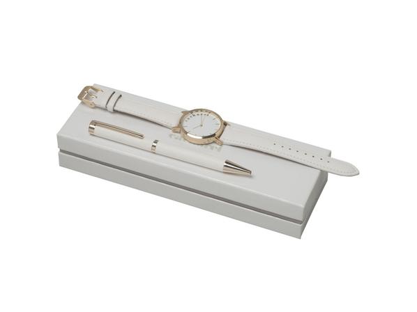 Подарочный набор Bagatelle: часы наручные, ручка шариковая, белый