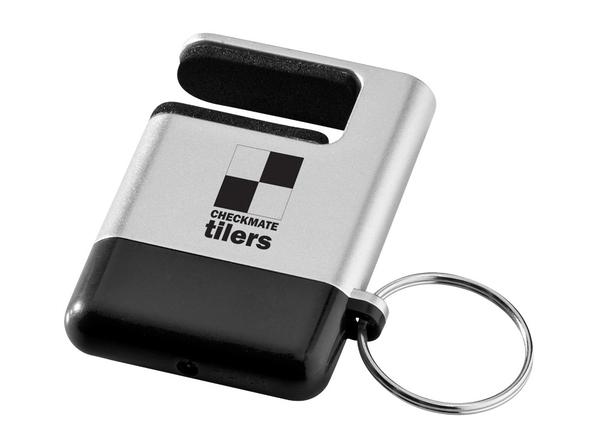Брелок / подставка для телефона с губкой для чистки экрана GoGo, черный