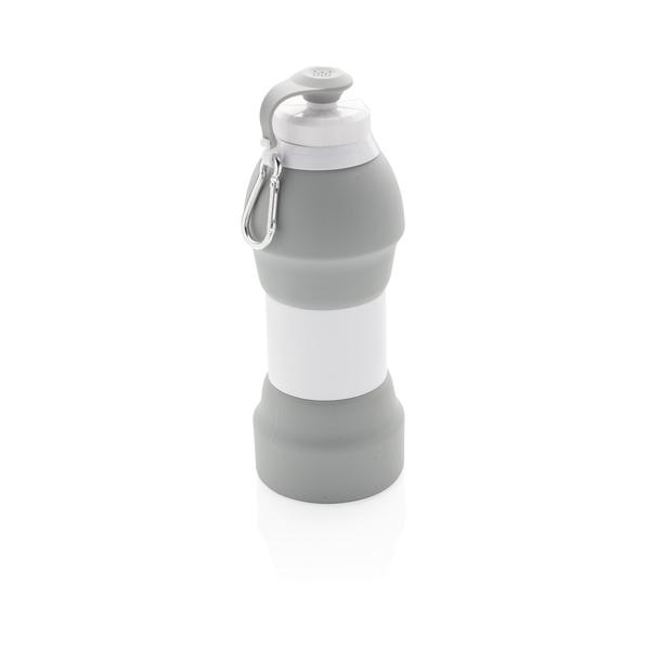 Складная силиконовая спортивная бутылка, 580 мл, серая